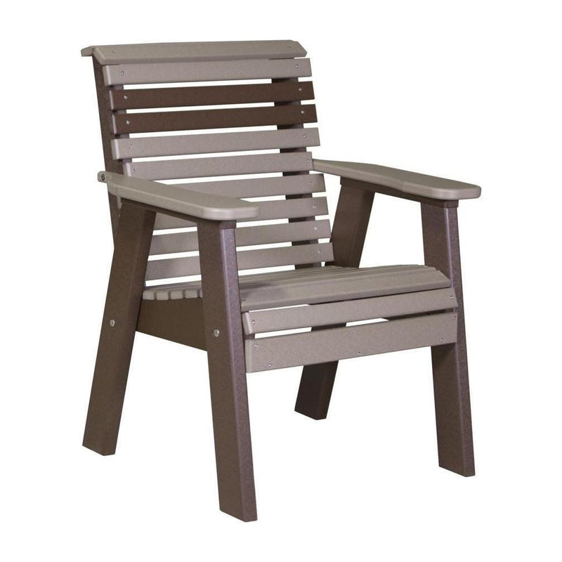 Plain Outdoor Bench Chair Weatherwood & Chestnut Brown