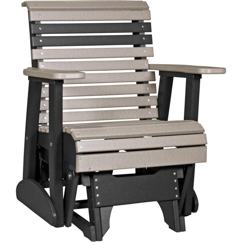 Plain Adirondack Glider Weattherwood & Black