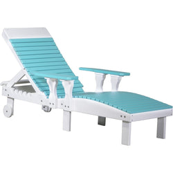 Outdoor Poly Lounge Chair Aruba Blue & White