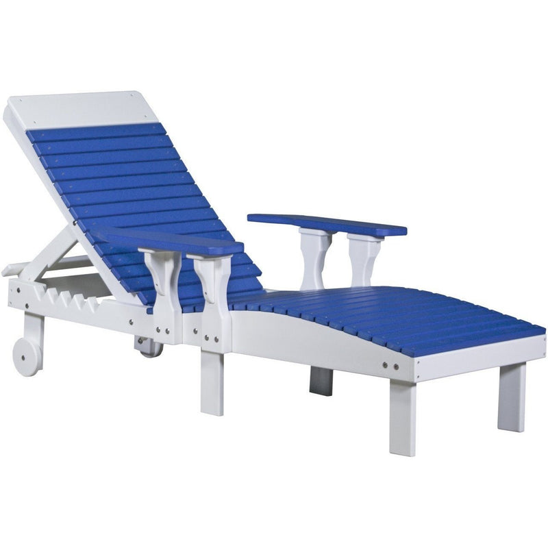 Outdoor Poly Lounge Chair Blue & White