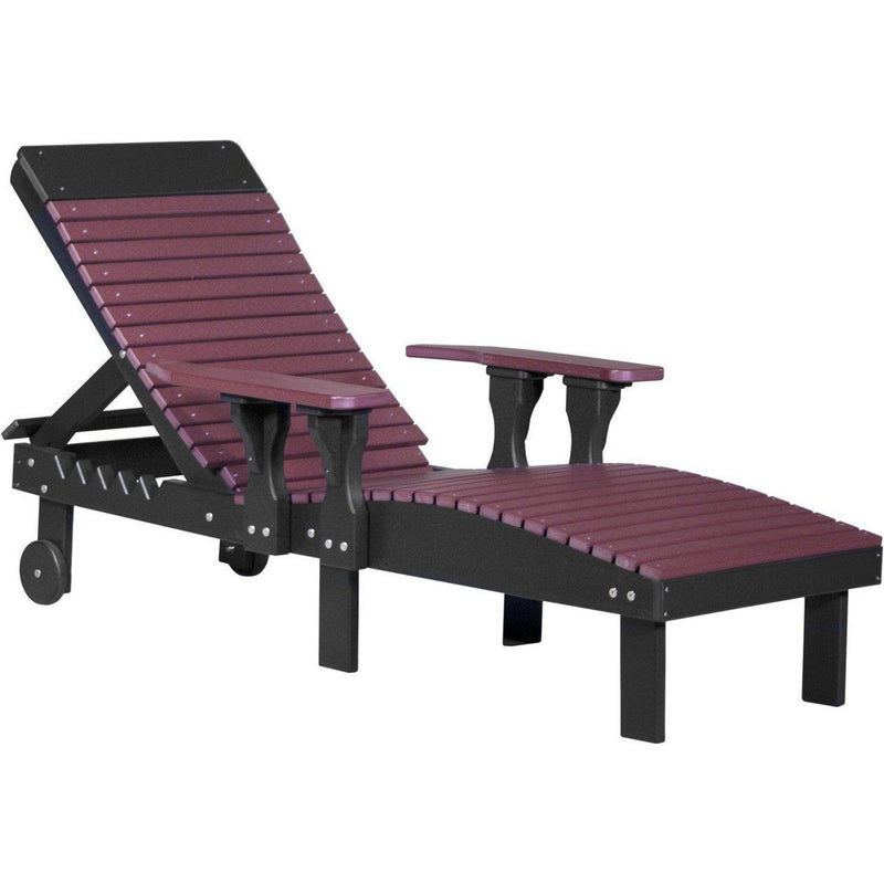 Outdoor Poly Lounge Chair Cherrywood & Black