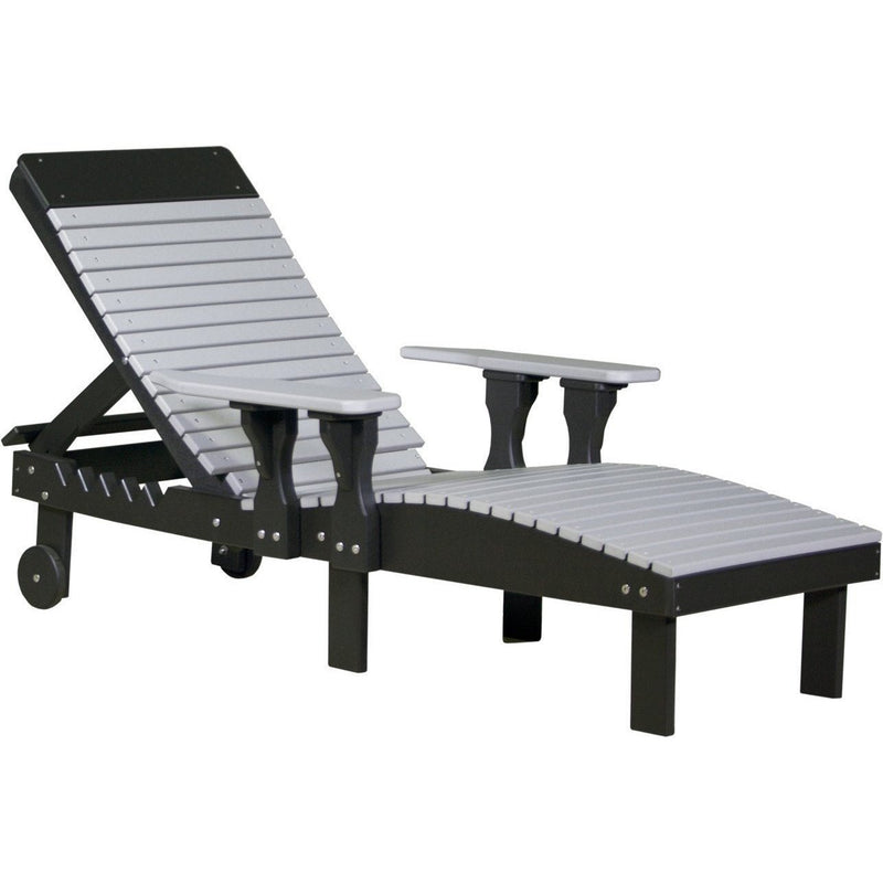 Outdoor Poly Lounge Chair Dove Grey & Black