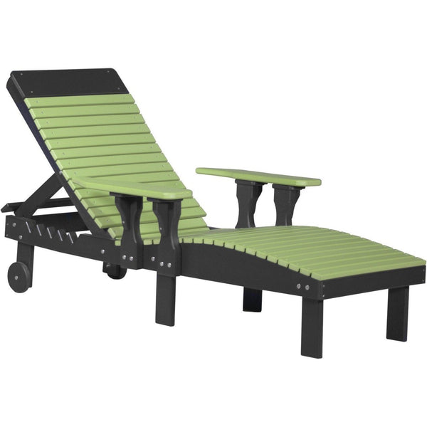 Outdoor Poly Lounge Chair Lime Green & Black