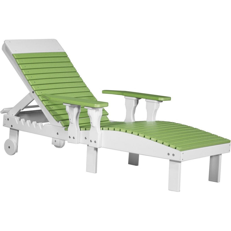 Outdoor Poly Lounge Chair Lime Green & White