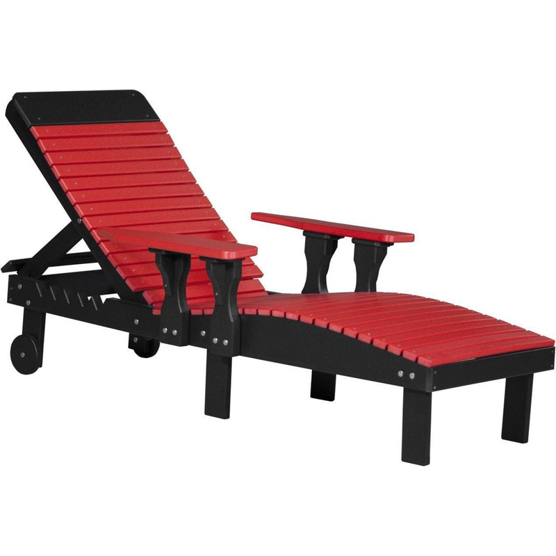 Outdoor Poly Lounge Chair Red & Black