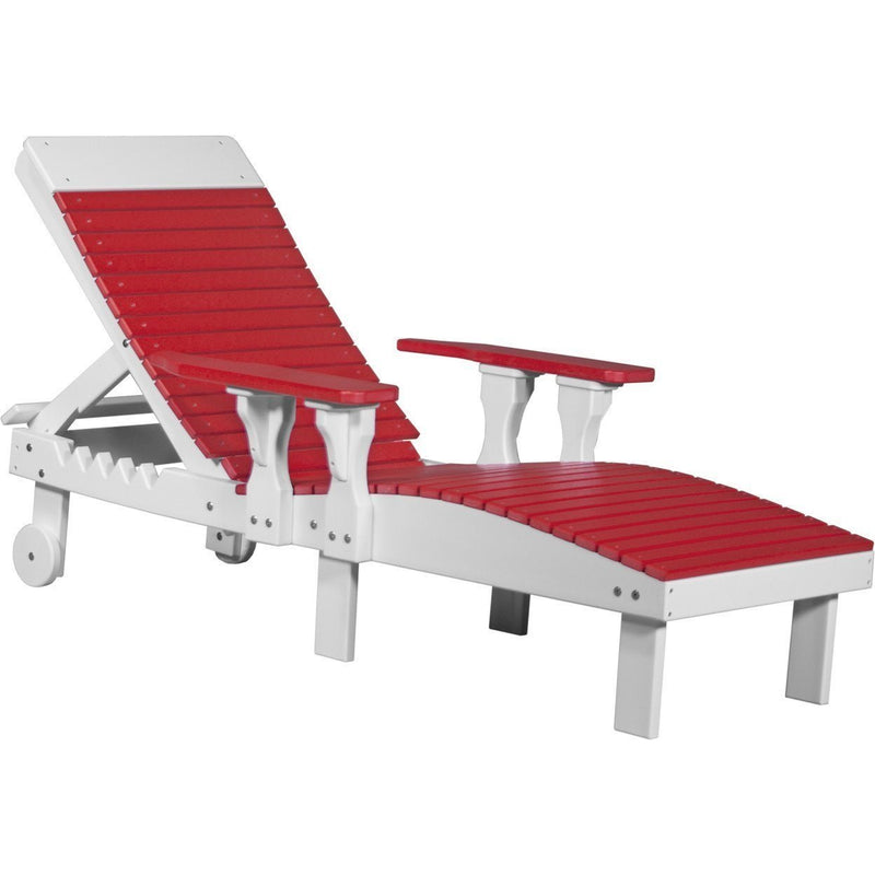 Outdoor Poly Lounge Chair Red & White