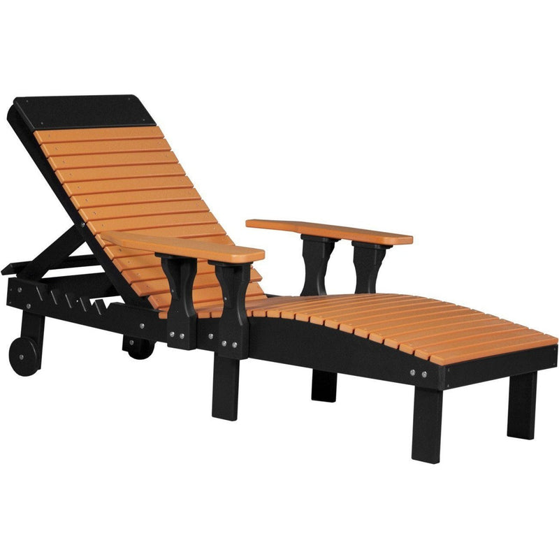Outdoor Poly Lounge Chair Tangerine & Black