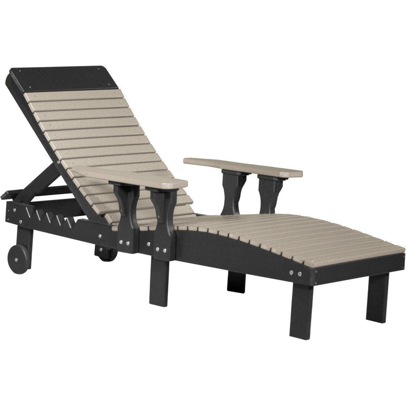 Outdoor Poly Lounge Chair Weatherwood & Black