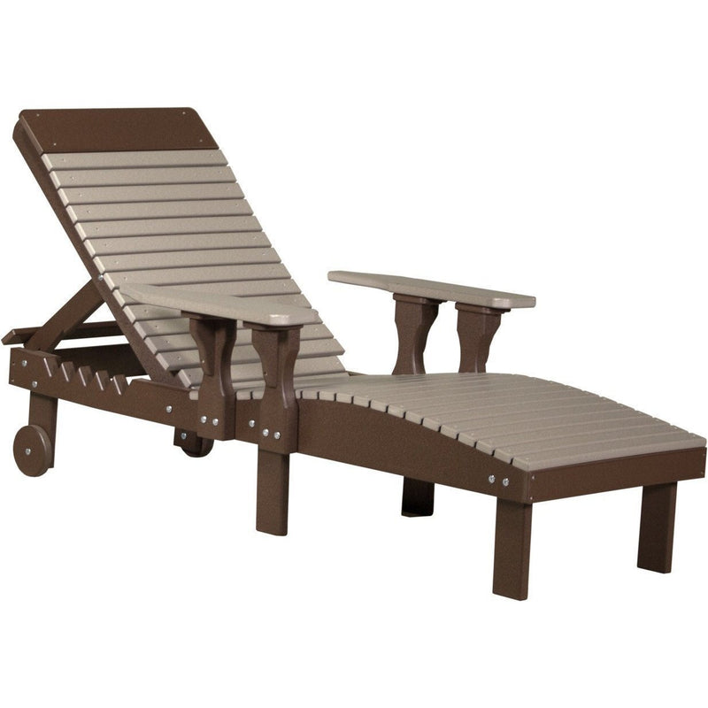 Outdoor Poly Lounge Chair Weatherwood & Chestnut Brown