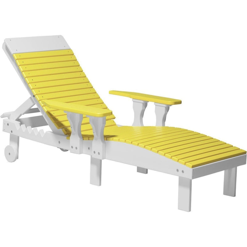 Outdoor Poly Lounge Chair Yellow & White