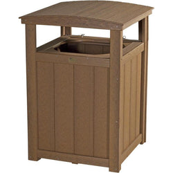 Outdoor Poly Trash Can Antique Mahogany