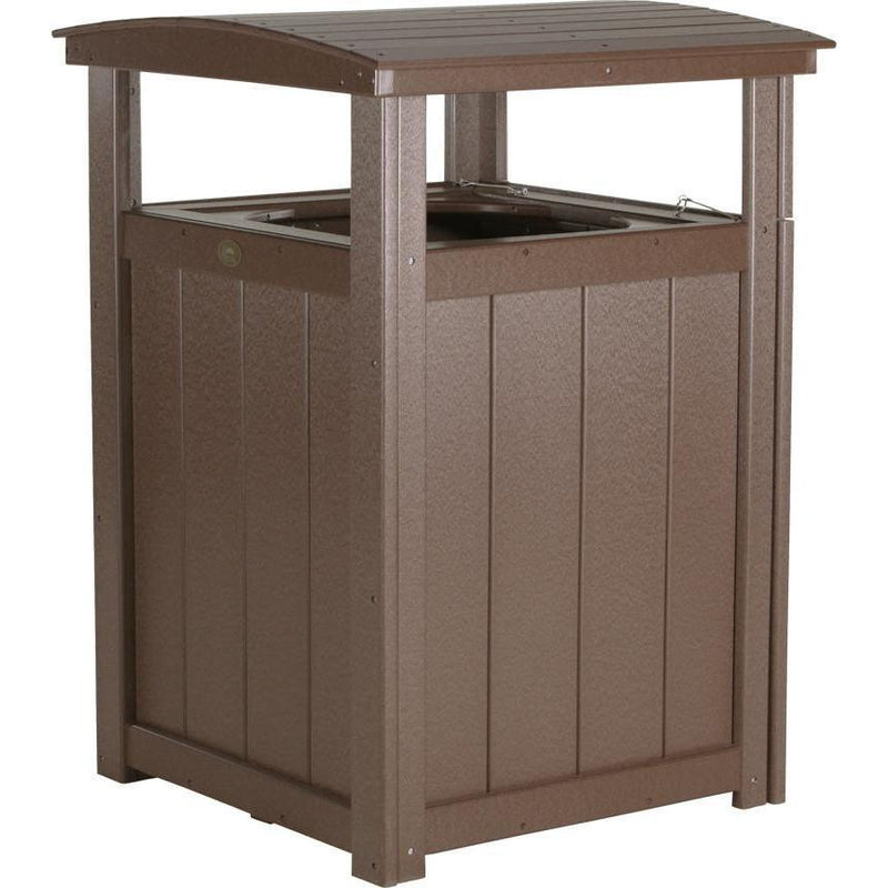 Outdoor Poly Trash Can Chestnut Brown