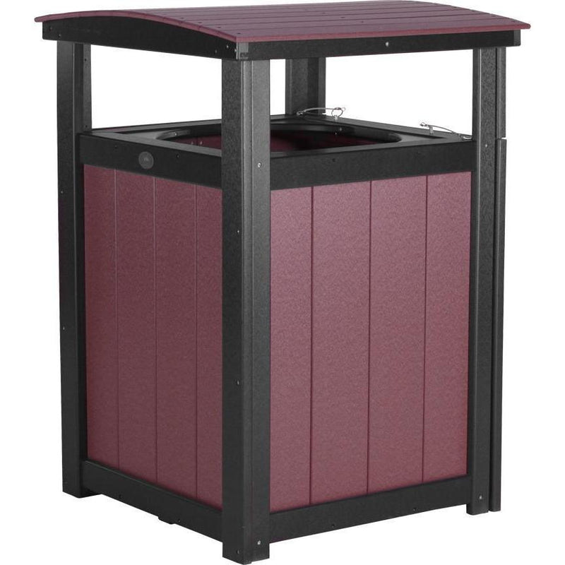 Outdoor Poly Trash Can Cherrywood & Black
