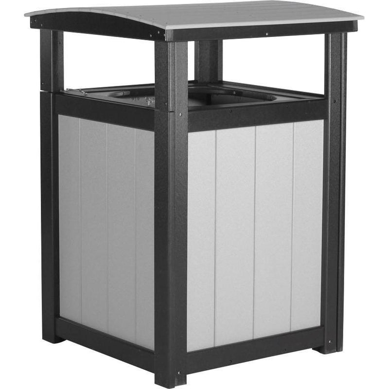 Outdoor Poly Trash Can Dove Grey & Black