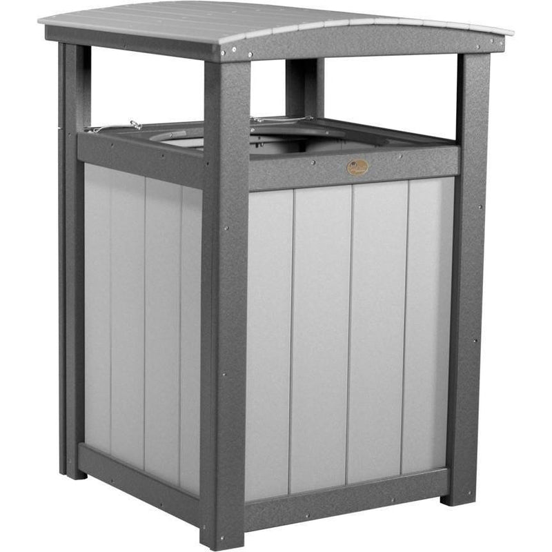 Outdoor Poly Trash Can Dove Grey & Slate