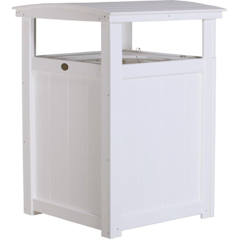 Outdoor Poly Trash Can White