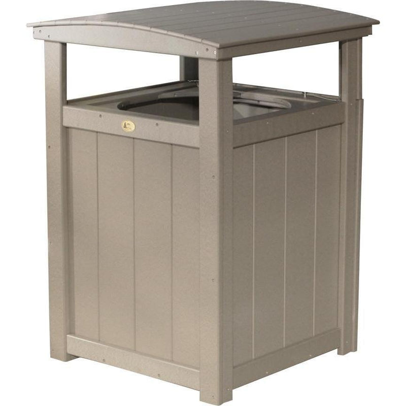 Outdoor Poly Trash Can Weatherwood