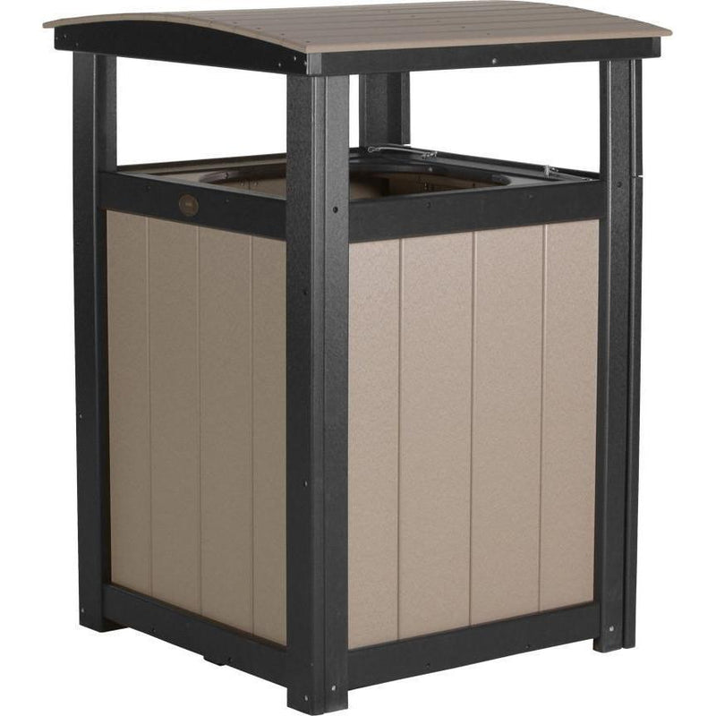 Outdoor Poly Trash Can Weatherwood & Black