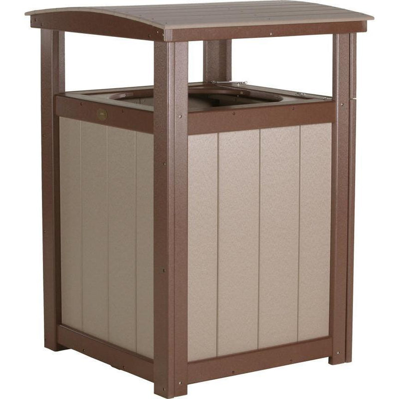 Outdoor Poly Trash Can Weatherwood & Chestnut Brown