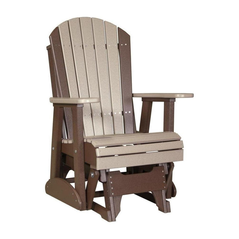 Adirondack Glider Weatherwood & Chestnut Brown