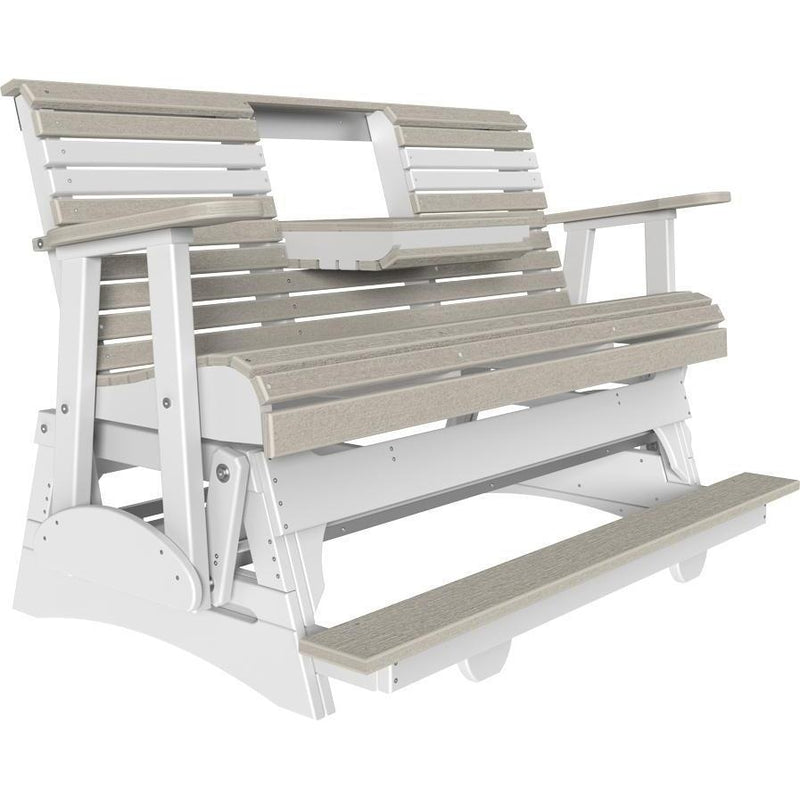 5' Plain Balcony Glider Birch & White-The Amish House