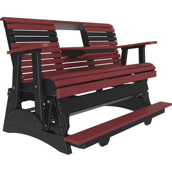 5' Plain Balcony Glider Cherrywood & Black-The Amish House