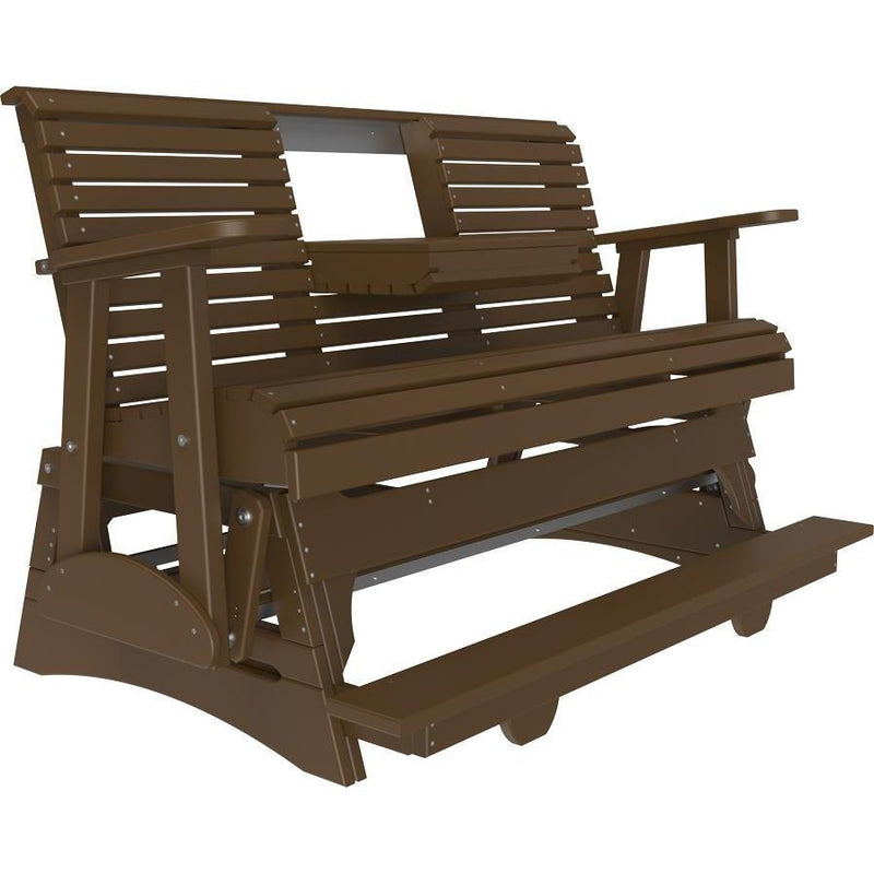 5' Plain Balcony Glider Chestnut Brown-The Amish House