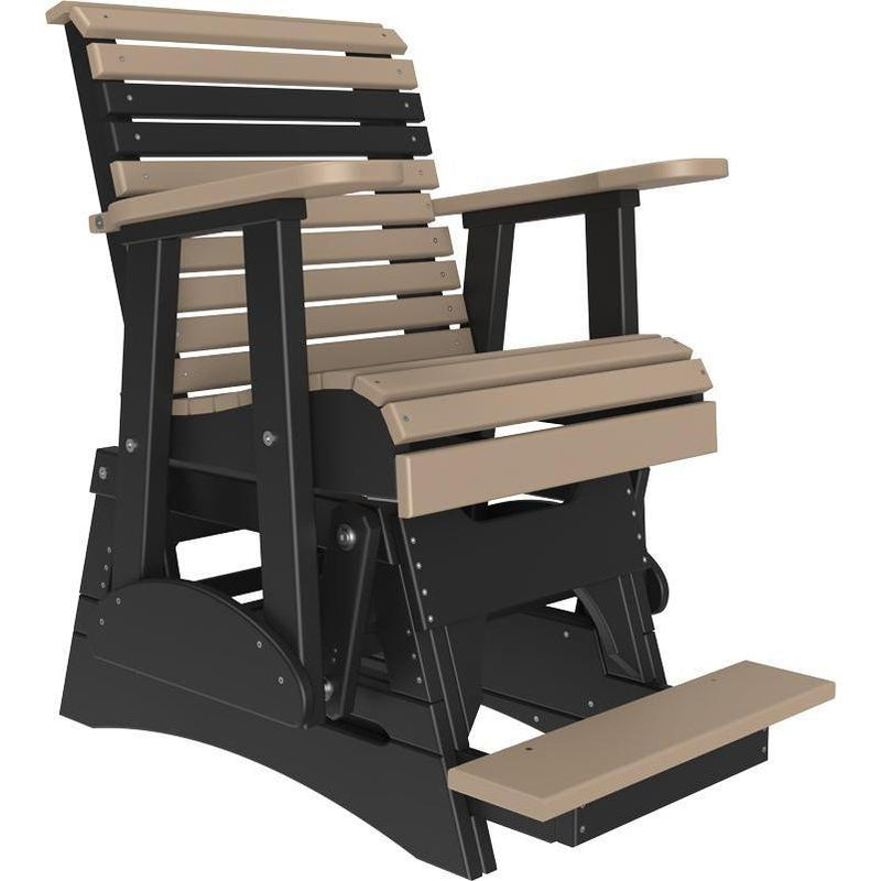 2' Plain Balcony Glider Weatherwood & Black-The Amish House