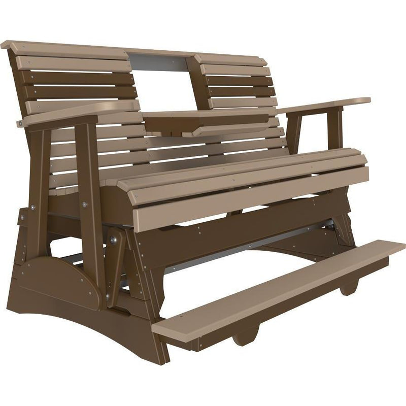 5' Plain Balcony Glider Weatherwood & Chestnut Brown-The Amish House