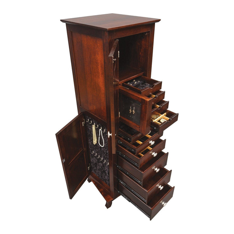 Revolving Shaker Jewelry Armoire-Bedroom-The Amish House