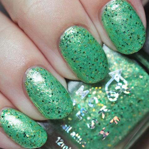 MCKFRESH - Wigs On Wigs On Wigs –Frosty lettuce green polish, strong gold shimmer. Emerald green & gold glitters & flakie