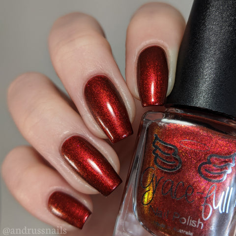 Contingent - a gorgeous dark red with fine aurora shimmer that shifts between red, and a bronze brown
