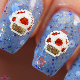 Captain Toad –blue base with dot glitter in a red holo & matte white, with blue, red and gold hex glitter