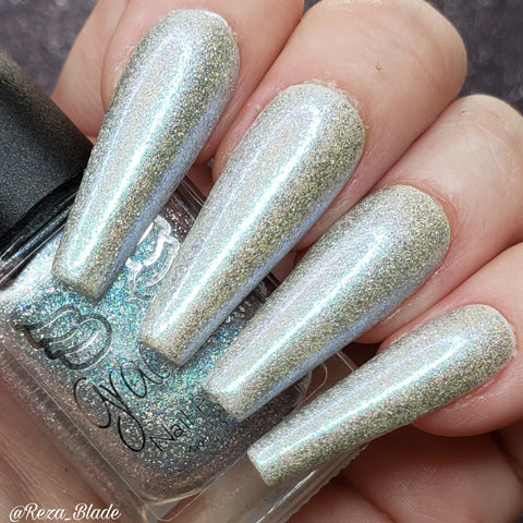 Point Break - topper with holo flakes and a shifty blue aurora shimmer