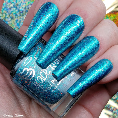 I'm Polish Remover B@#!h – A light teal metallic foil flake with micro red metallic glitter