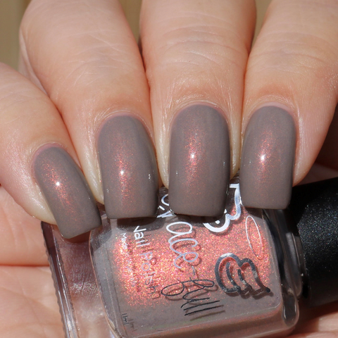Finally on Taupe – a taupe base with an orange aurora shimmer flash