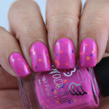 Aussie Xmas – fluro pink crelly filled with matte neon glitters