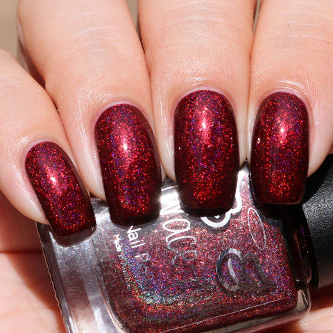 Chosen One - a linear maroon holo with UCC flakes and aurora shimmer