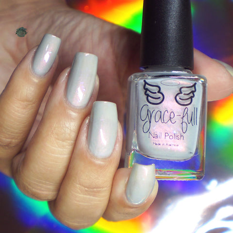 Good weather - soft grey crelly with a pink shift and ultra chrome chameleon iridescent flakes