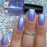 Pastel Prima Donna – a lilac shimmer base with shifty flashes of blue