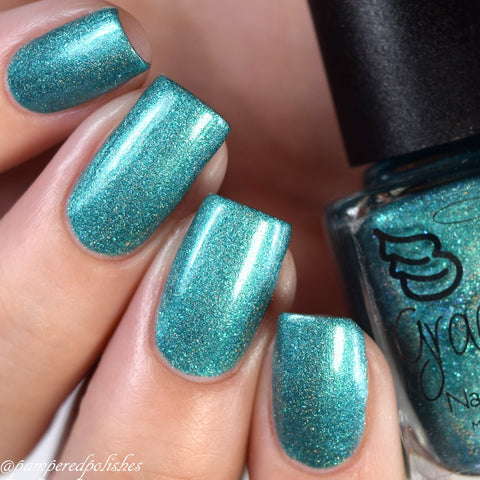 Little Brother - green holo with turquoise metallic flakies