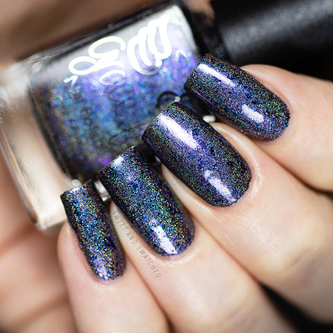 Helms Deep Fortress – a black based linear holo packed with blue-purple aurora shimmer and teal/navy/violet ultra chrome chameleon flakes