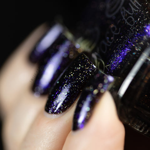 Merry Christmas Hermione black base with a gorgeous deep blue to purple aurora shimmer and holo micro glitter