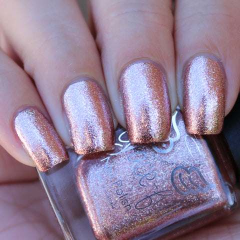 Rosy Glow - Rose Gold and Silver micro flakies in a clear base.