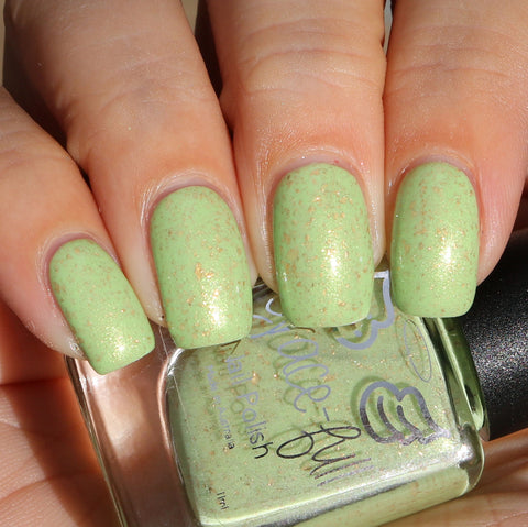 Step in Time - light green crelly with gold shimmer and gold metallic flakes