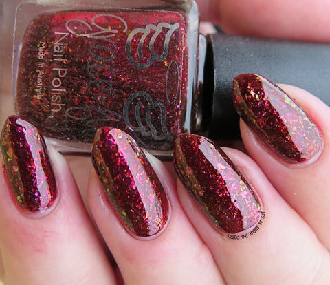Blood Countess – ox blood jelly with multichrome flakies in copper, gold and fuchsia