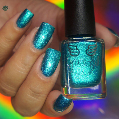 Sirens' Tale – a turquoise metallic flake with sparks of blue metallic flakes.