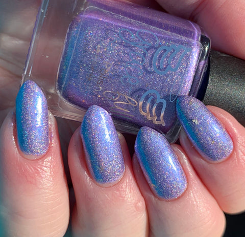 Hope Floats soft periwinkle linear holo with lavender and blue shimmer with gold flakes