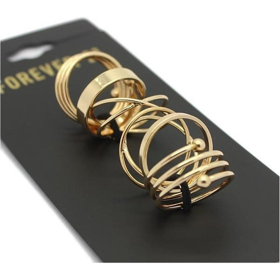 Trendy Punk Stackable Midi Rings - SexyBling