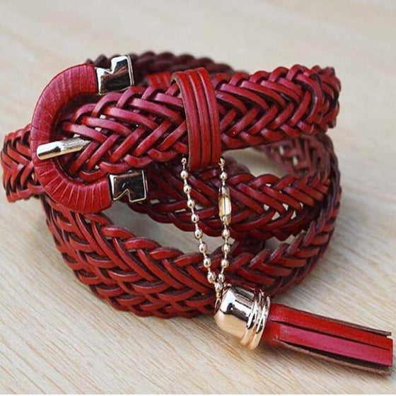 Bell Stopper Leather Braided Belt - SexyBling